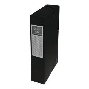 Exacompta 50601E - Boîte à élastique EXABOX, carte lustrée, dos de 60, coloris noir