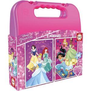 Educa Princess Malette Disney Princesses 2 Puzzles de 48 pièces, 17640