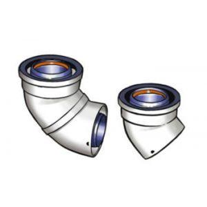 Ubbink Coude 45° 80/125 aluminium et PVC Rolux (par 2) Réf 228501