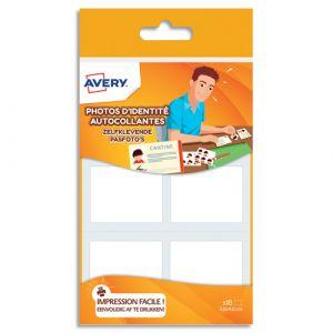 Avery-Zweckform Blister de 18 photos d'identités autocollantes et imprimables Avery - format : 35x45mm