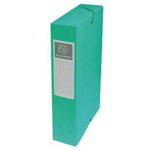 Exacompta 50603E - Boîte à élastique EXABOX, carte lustrée, dos de 60, coloris vert
