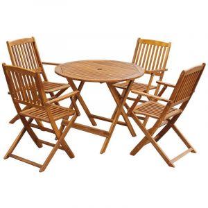 VidaXL Jeu de salle à manger d'extérieur pliable 5 pcs bois d'acacia table ronde