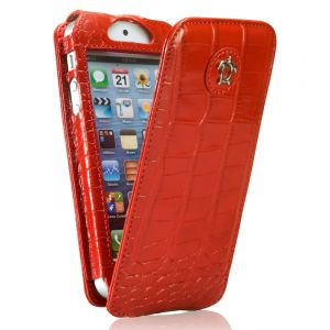 Issentiel Housse pour iPhone 5/5S Cuir Croco Rouge - Collection Tradition