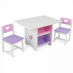 KidKraft 26913 - Ensemble table et chaises avec motif coeur et bacs aux couleurs pastel