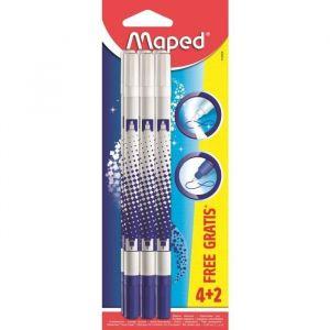 Maped Lot de 6 stylos effaceurs pour encre bleue - 2 gratuits