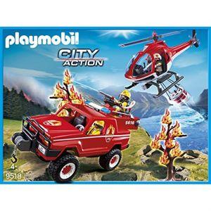 Playmobil 9518 City Action - Hélicoptère Et 4x4 De Pompiers