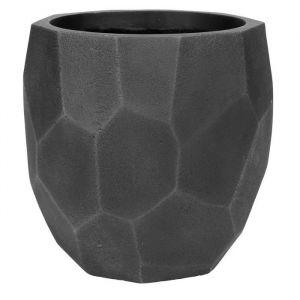 Pot boule à facettes lisse 36,5 x 36,5 x 37 cm Noir