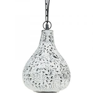 Relaxdays Lampe à suspension style oriental Shabby chic H x D: 137,5 x 24 cm luminaire chaîne métal abat-jour aladdin moucharabieh motifs feuilles et fleurs style industriel, blanc