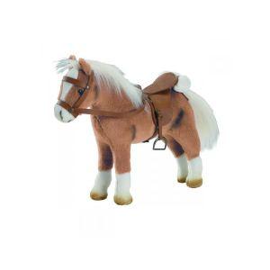 Gotz Peluche cheval avec bruitages, selle et harnais : Blanc ou Marron ou Halfinger
