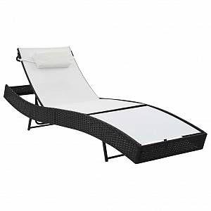 VidaXL Chaise longue Résine tressée Noir et blanc