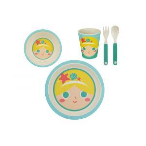 La Chaise Longue Vaisselle enfant en bambou multicolore sirène (Set de 5) KIDDY