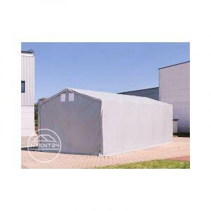 Intent24 TOOLPORT hangar PVC 4x6 m PVC d'env. 550 g/m², H. 3 m, portes à fermeture Eclair, gris