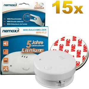 Nemaxx 15x détecteur de fumée Mini-FL2 - mini-détecteur discret et de haute qualité Alarme de fumée avec batterie au lithium - selon la norme DIN EN 14604 + 15x kit magnétique
