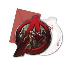 6 cartes d'invitation avec enveloppes Avengers