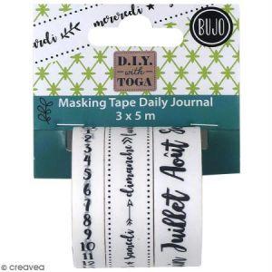 Toga Bullet Journal Trio Masking Tape, Washi, Date bujo-Noir/Blanc, Longueur : 5 mètres