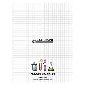 Conquerant 400002795 - Cahier Classique T.P. piqué 240x320 couv. PP incolore 96p./48 feuilles 90/120g/m², Séyès/uni
