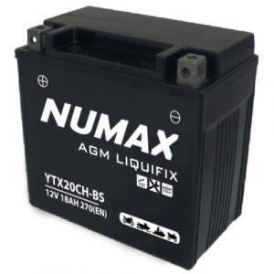 Numax Batterie moto Premium AGM avec pack acide YTX20CH-BS 12V 18Ah 250A