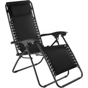 TecTake Chaise Longue de Jardin, Fauteuil de Jardin, Bain de Soleil Transat, Chaise de Camping Pliante 63 cm x 87,5 cm x 111 cm Noir