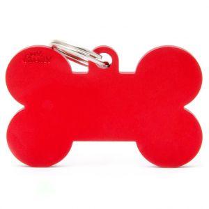 Myfamily Médaille basic os XL chien en aluminium rouge