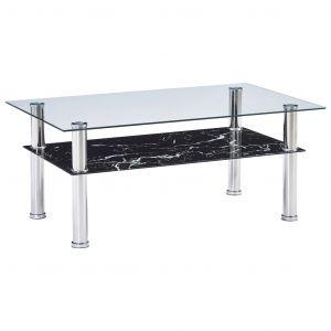VidaXL Table basse à l'aspect de marbre Noir 100x60x42 cm Verre trempé