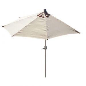 Mendler Demi-parasol aluminium Parla pour balcon ou terrasse, Ip 50+, 285cm ~ crème sans pied