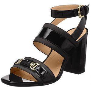 Geox D Audalies High Sandalo C, Sandales Bride Cheville Femme, Noir (Black), 36 EU