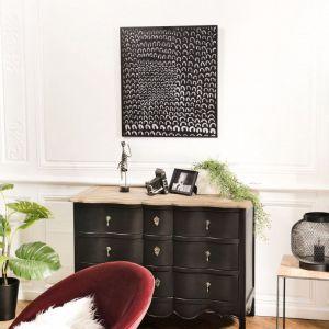"""Macabane Décoration Murale en Métal """"Dot"""" 64x70cm Noir"""