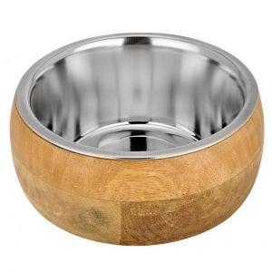 Bubimex Gamelle en acier inox avec cadre en bois de mangue 1,6 L