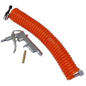 Aerzetix Kit De Nettoyage à Air Pistolet Tuyau Spirale Souffleur Soufflette Air Comprimé Pneumatique Compresseur