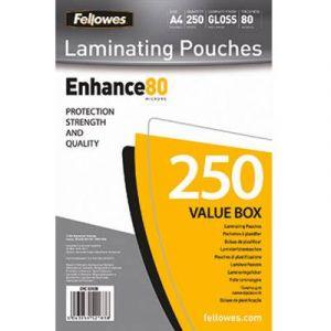 Fellowes 5312903 - Pack de 250 pochettes Enhance80, format A4, 2 x 80µ