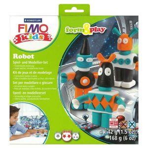 Fimo 8034 03 LY - Pâte à cuire Kids, kit Form & Play Robot, inc. 4 pains 42 g coloris assortis + instructions