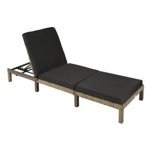 TecTake Bain de soleil SOFIA 5 positions - chaise longue, transat bain de soleil, transat jardin - marron naturel