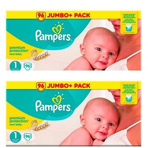 Pampers Premium Protection nouveau-né Taille 1 - Giant Value pack de 2x 96 couches