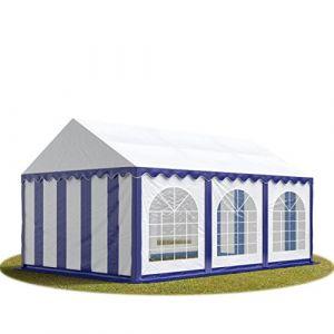 Intent24 TOOLPORT Tente Barnum de Réception 4x6 m PREMIUM Bâches Amovibles PVC 500 g/m² bleu-blanc + Cadre de Sol Jardin.FR