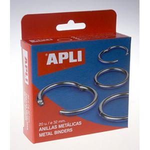 APLI 00453 - Boîte de 20 anneaux métalliques articulés Ø 32 mm
