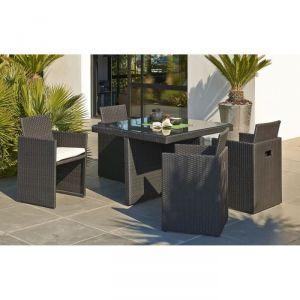 Garden Green Table de jardin en résine tressée avec 4 fauteuils encastrables
