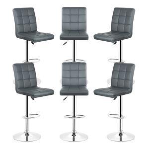 Oobest 6x Tabourets de bar fautruil chaise en hauteur reglable 9 grilles en simili (Gris)