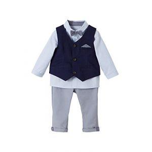 59392e5cb3068 Vertbaudet Ensemble bébé garçon cérémonie gilet + chemise + noeud papillon  + pantalon encre gris