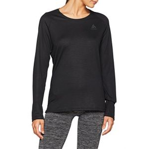 Odlo SUW Top Crew Neck l/s Active F-Dry Light Undershirt Femme, Black, FR : M (Taille Fabricant : M)