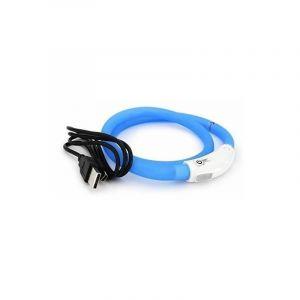 Duvo Anneau Lumineux Seecurity Flash Light Ring USB Silicone - 70 cm - Bleu - Pour chien