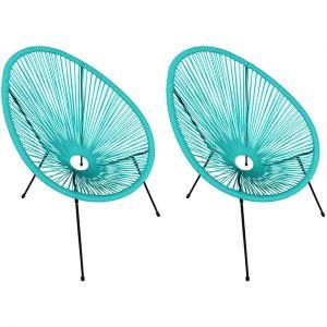 Happy Garden Lot de 2 fauteuils oeuf ACAPULCO aqua