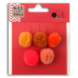 Toga Set de mini pompons ronds - Juicy - 2 cm - 5 pcs