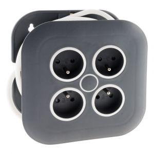 Zenitech Enrouleur domestique 4 prises 2P+T 16A + coupe-circuit - Gris/Blanc