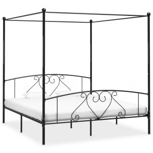 VidaXL Cadre de lit à baldaquin Noir Métal 180 x 200 cm