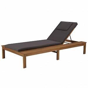 VidaXL Chaise longue avec coussin et oreiller Bois d'acacia massif