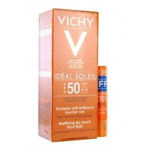 Vichy Idéal Soleil - Émulsion Anti-Brillance SPF50+ en 50 ml et stick lèvres SP