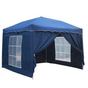 Happy Garden Tente de réception Mistral pliante 3x3m bleu avec panneaux