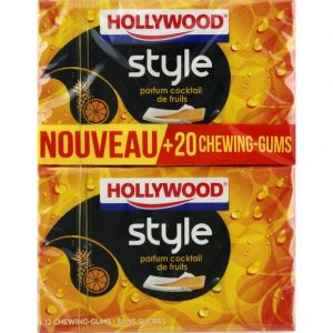 Hollywood Chewing-gum parfum cocktail de fruits, sans sucres