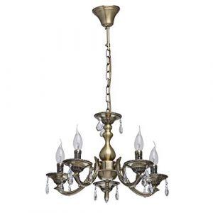 MW-Light Lustre Chandelier de Design Classique à 5 Lampes Bougies en Métal couleur Bronze Antique décoré de Cristaux pour Salon ou Salle à Manger 5x60W E14