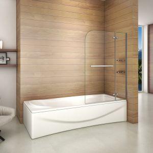 AICA Sanitaire Pare baignoire 100x140cm paroi de douche pivotante à 90¡ãverre securit avec porte-serviette